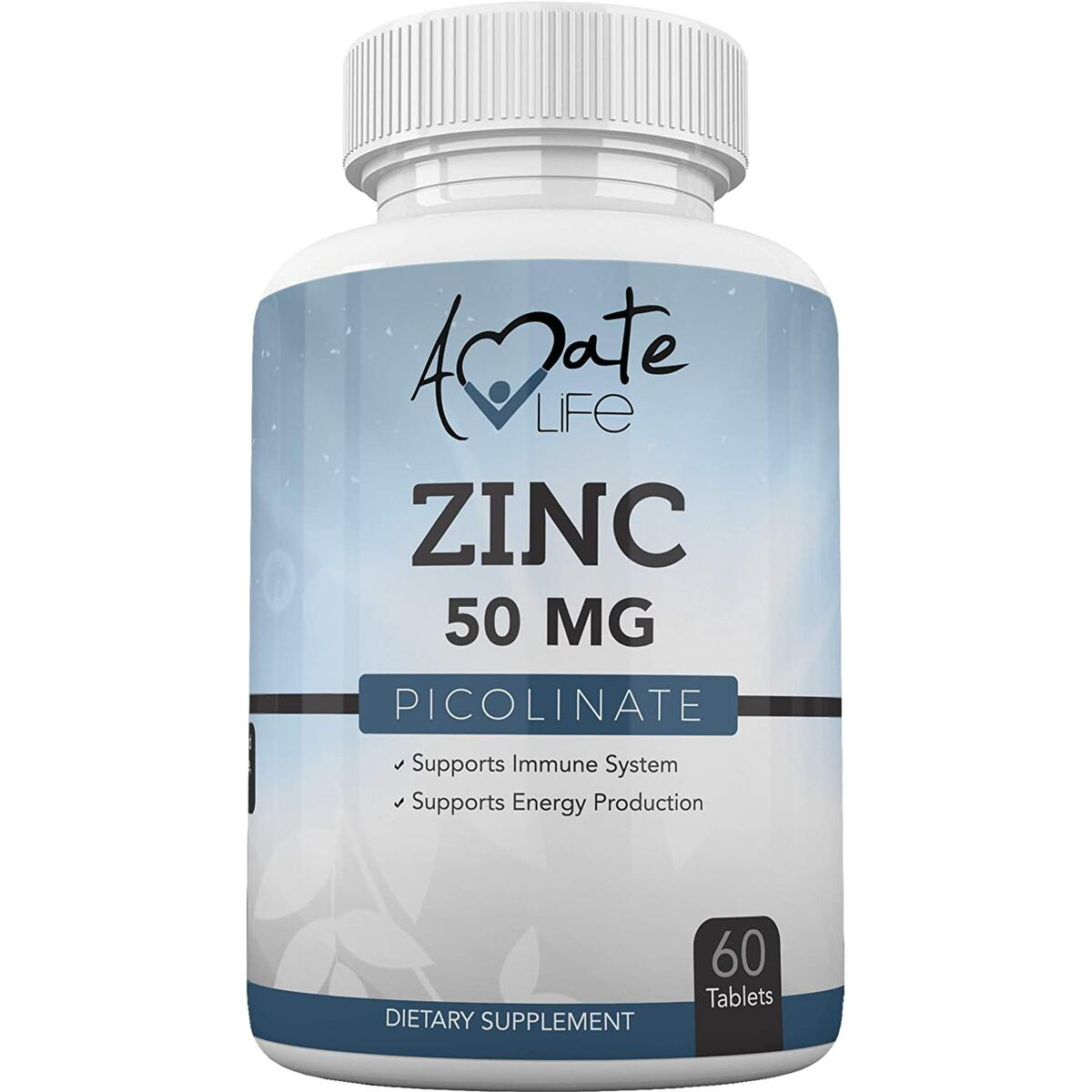 Zinc Picolinate 50mg Tablets Maximum Strength Zinc Supplement for Immune System & Energy Levels Gluten Free, Vegetarian Friendly for Men and Women Non-GMO Formula 60 Count Made in USA by Amate Life