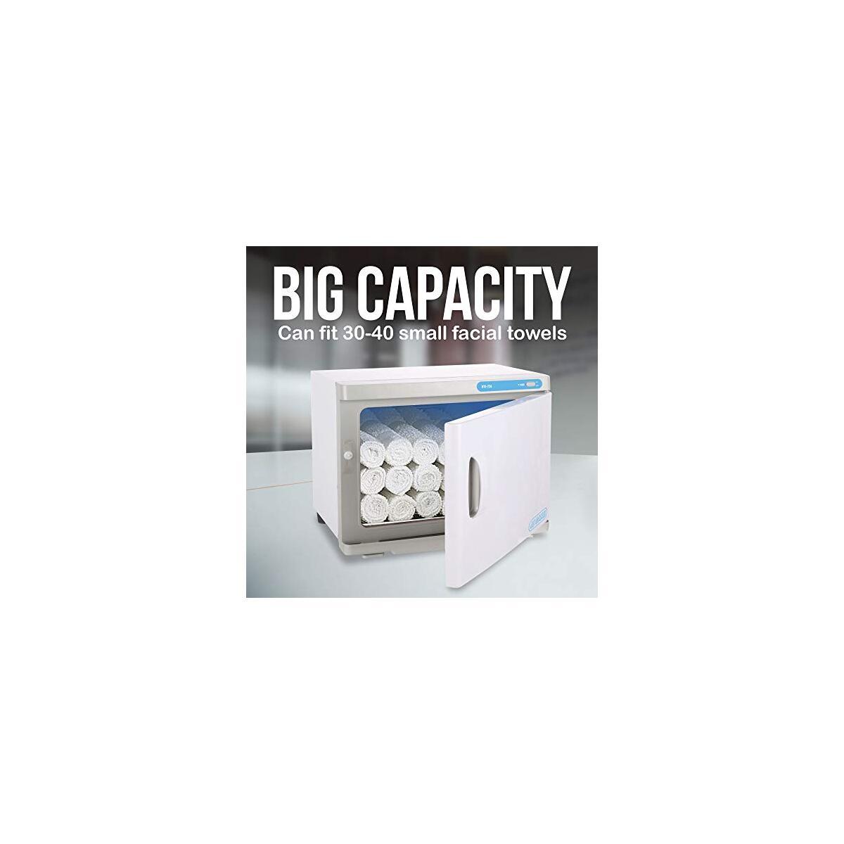 JJ CARE UV Towel Warmer, Hot Towel Cabinet, UV Towel Sterilizer 23L, Spa Hot Towel Warmer with UV Sterilizer, 30-40 Small Facial Towels Capacity for Salon, Spa, Barber Shops
