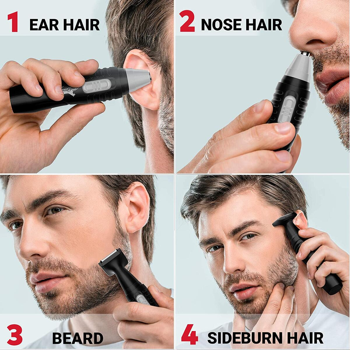 IQ Beauty Nose Hair Trimmer for Men - Electric Facial Nose Ear Hair Remover, Double Edge Stainless Steel Blades