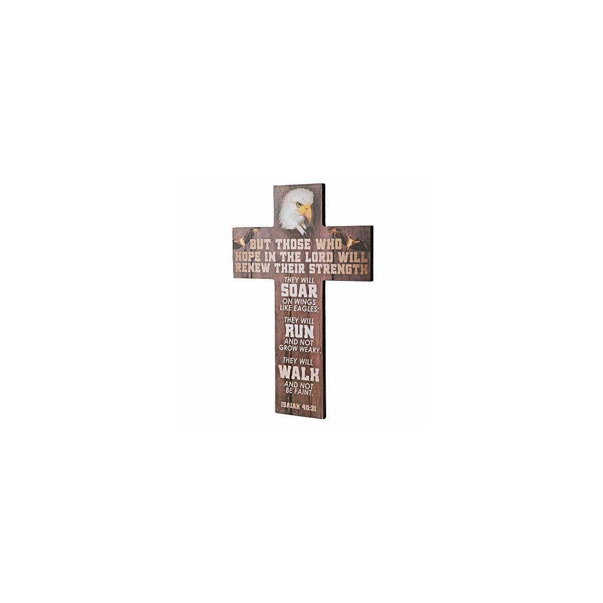Evaluation result 8.82 of 10 Roll over image to zoom in        True Vine Creations, Christian Wall Decor, 13.75 inches x 9.75 inches, Wooden Cross Wall Art Décor, Isaiah 40:31 Bible Verse.