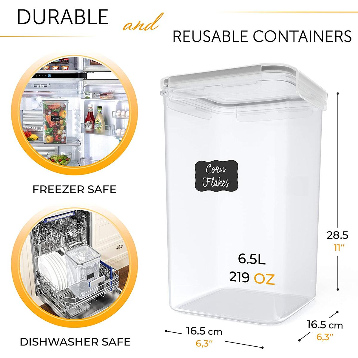 Large Airtight Food Storage Containers with Lids - 2 x 6.5L (220 Oz) Sugar Rice Cereal Flour Container for Kitchen Organizing - BPA-Free Dry Food Storage Containers for Pantry