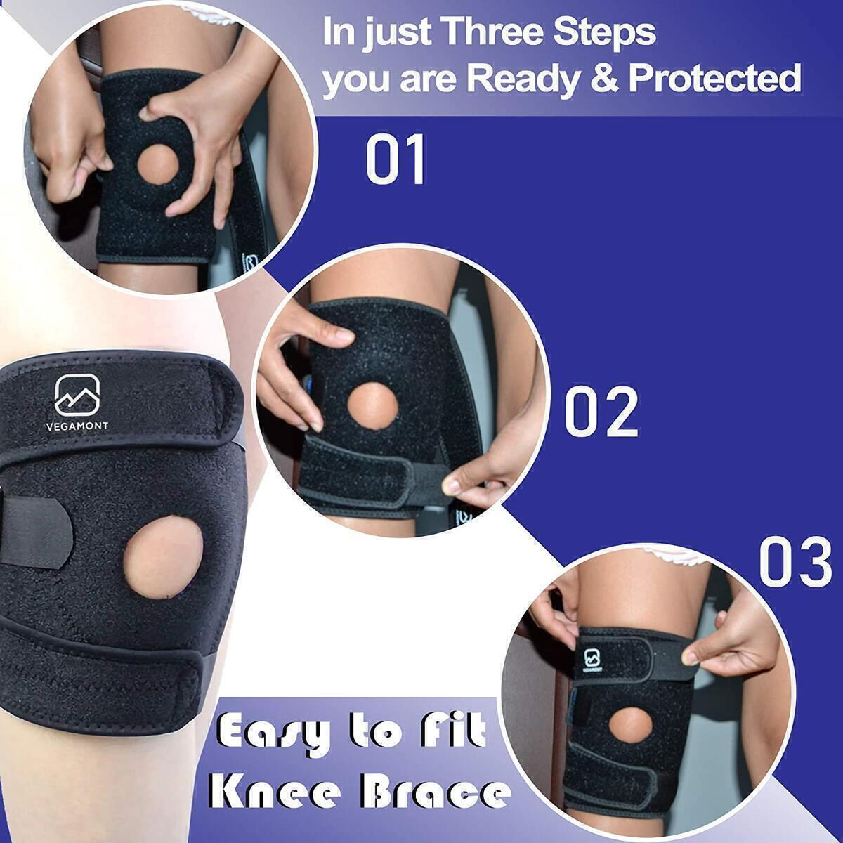 Knee Brace Support for Women and Men by VEGAMONT - Adjustable Open Patella Neoprene Strap - Reduce pain & Protect from Injury - Non Slip - Size 35cm - 40cm (13