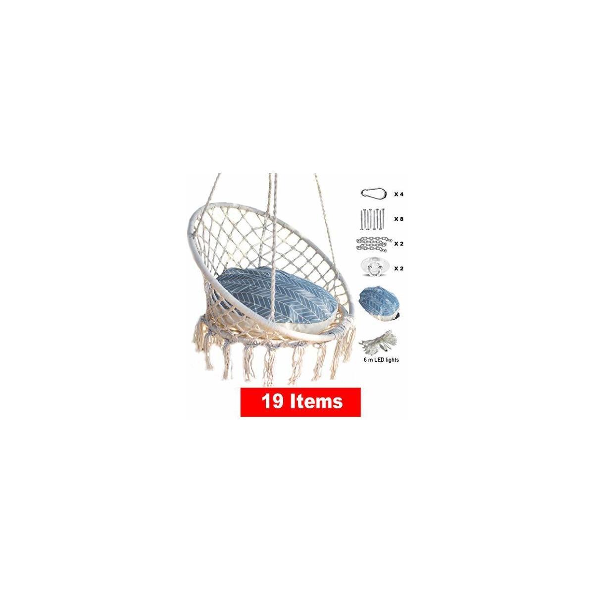 Macrame Hanging Chair with Large Cushion, Lights & DIY Hanging Kit