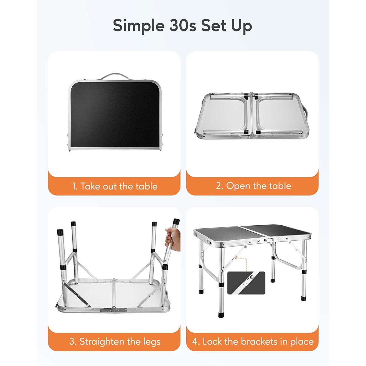 FiveJoy Adjustable Camping Table, Folding Portable Lightweight Aluminum Roll Up Top Weatherproof and Rust Resistant Table for Outdoor Picnic Cooking Beach Backyard, 23.6