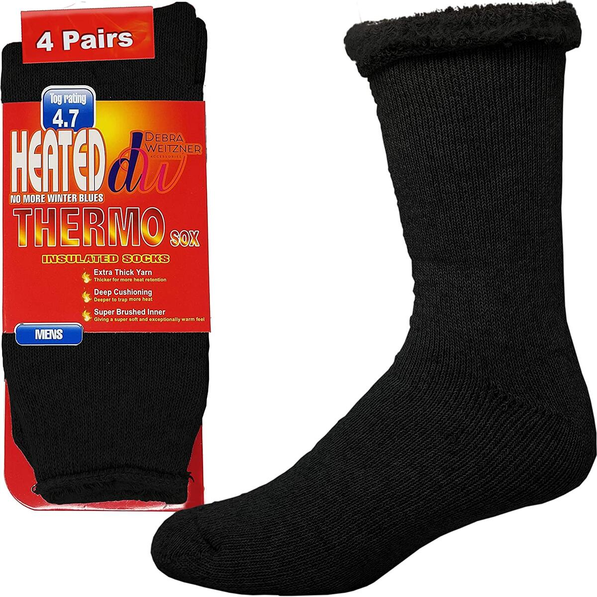 Debra Weitzner Thermal Socks For Men and Women Heated Winter Socks Insulated for Cold Weathers 4 Pack color black size 10-13 4.7 thickness
