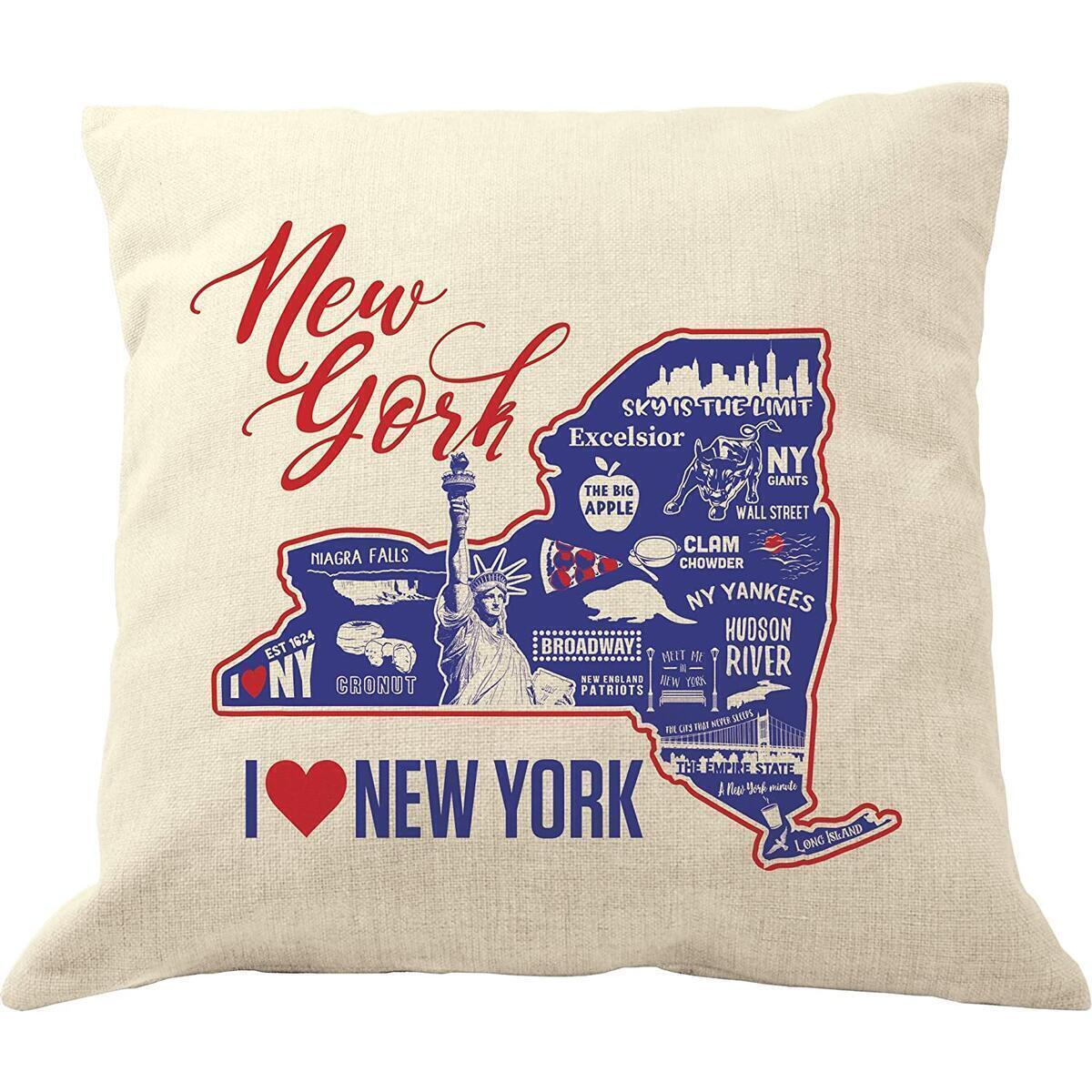 DrupsCo New York Pillow Covers 18x18 - Cotton Linen New York Throw Pillow Case, New York Decorative Pillow