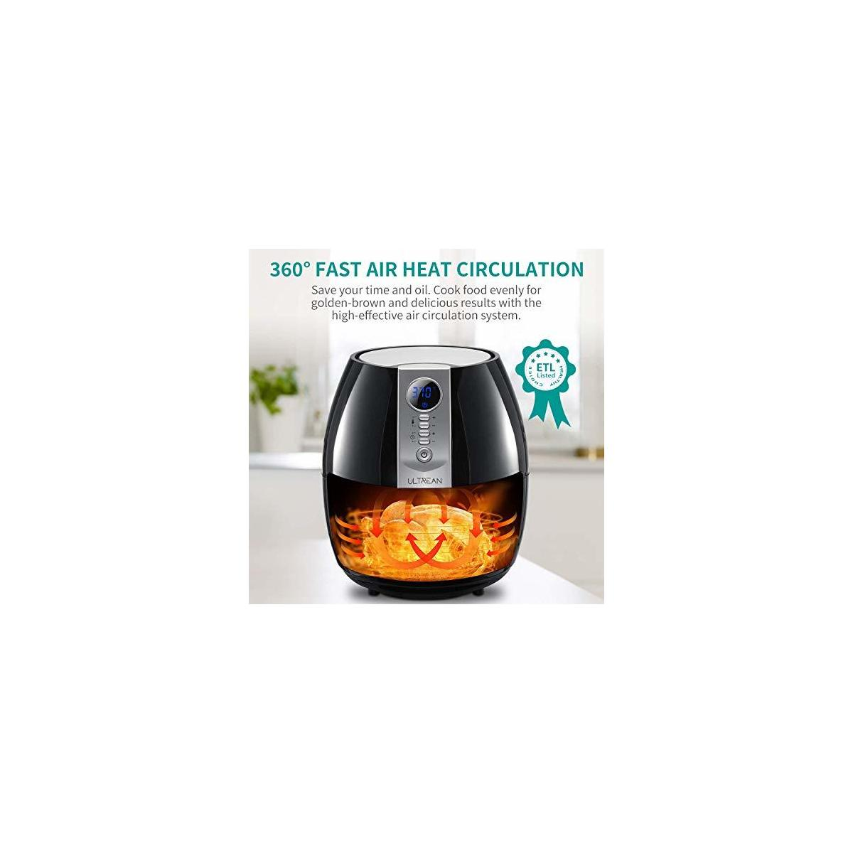 Ultrean Air Fryer, 4.2 Quart (4 Liter) Electric Hot Air Fryers Oven Oilless Cooker with LCD Digital Screen and Nonstick Frying Pot, ETL/UL Certified,1-Year Warranty,1500W (ANY COLOR)