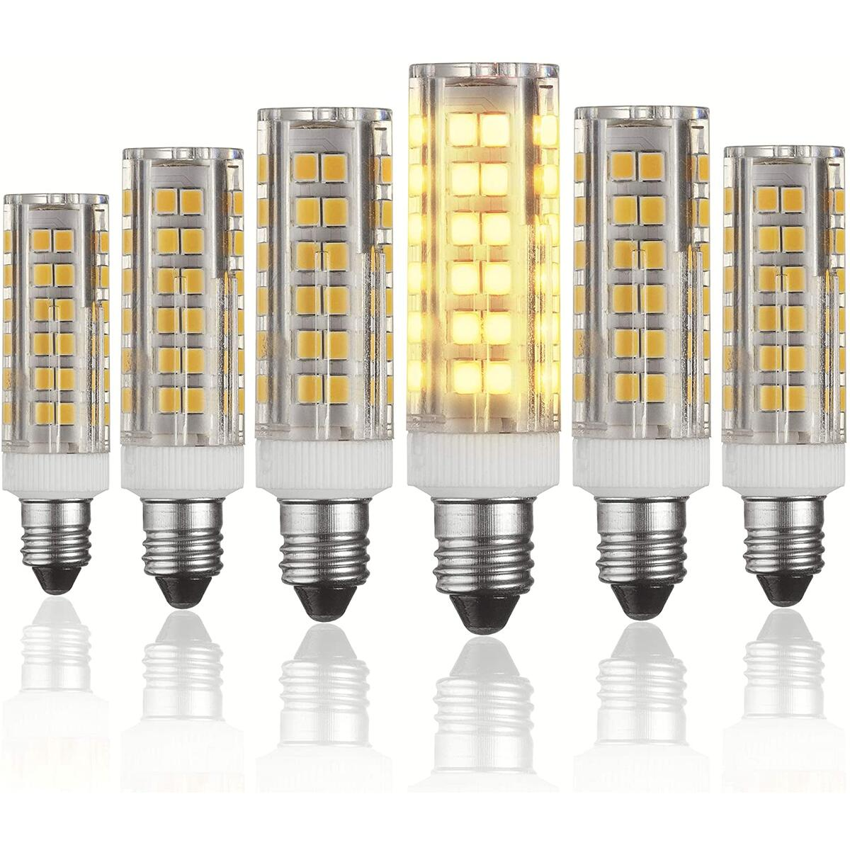 E11 LED Bulbs – 5W - 50W Halogen Replacement - Dimmable - Mini-Candelabra Base Light Bulb - Replaces T4 /T3 JDE11 - Warm White 3000K - for Ceiling Fans, Cabinet Lighting, Sconce & More- 6 Pack
