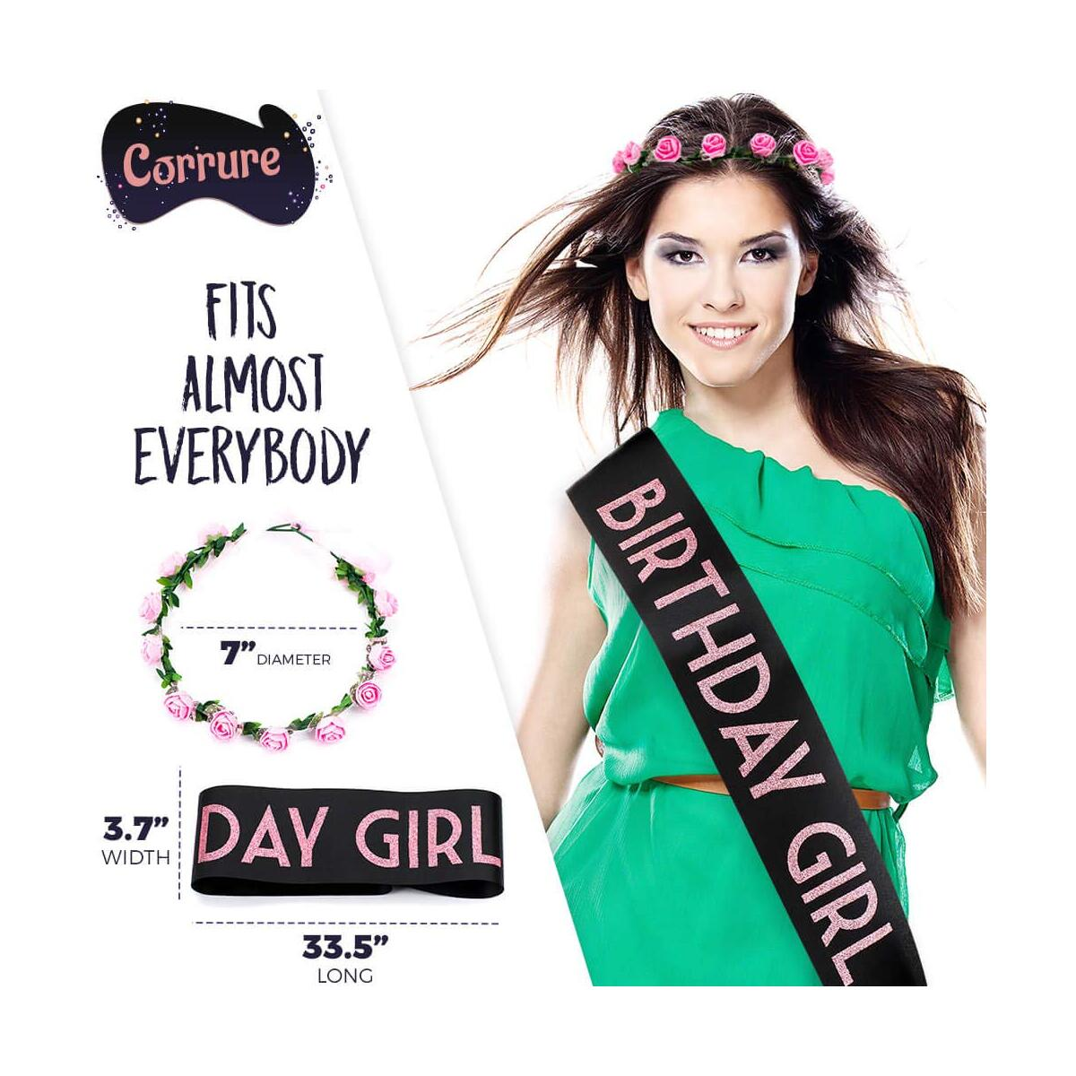 CORRURE 'Birthday Girl' Sash and Tiara - Soft Satin Black with Pink Glitter