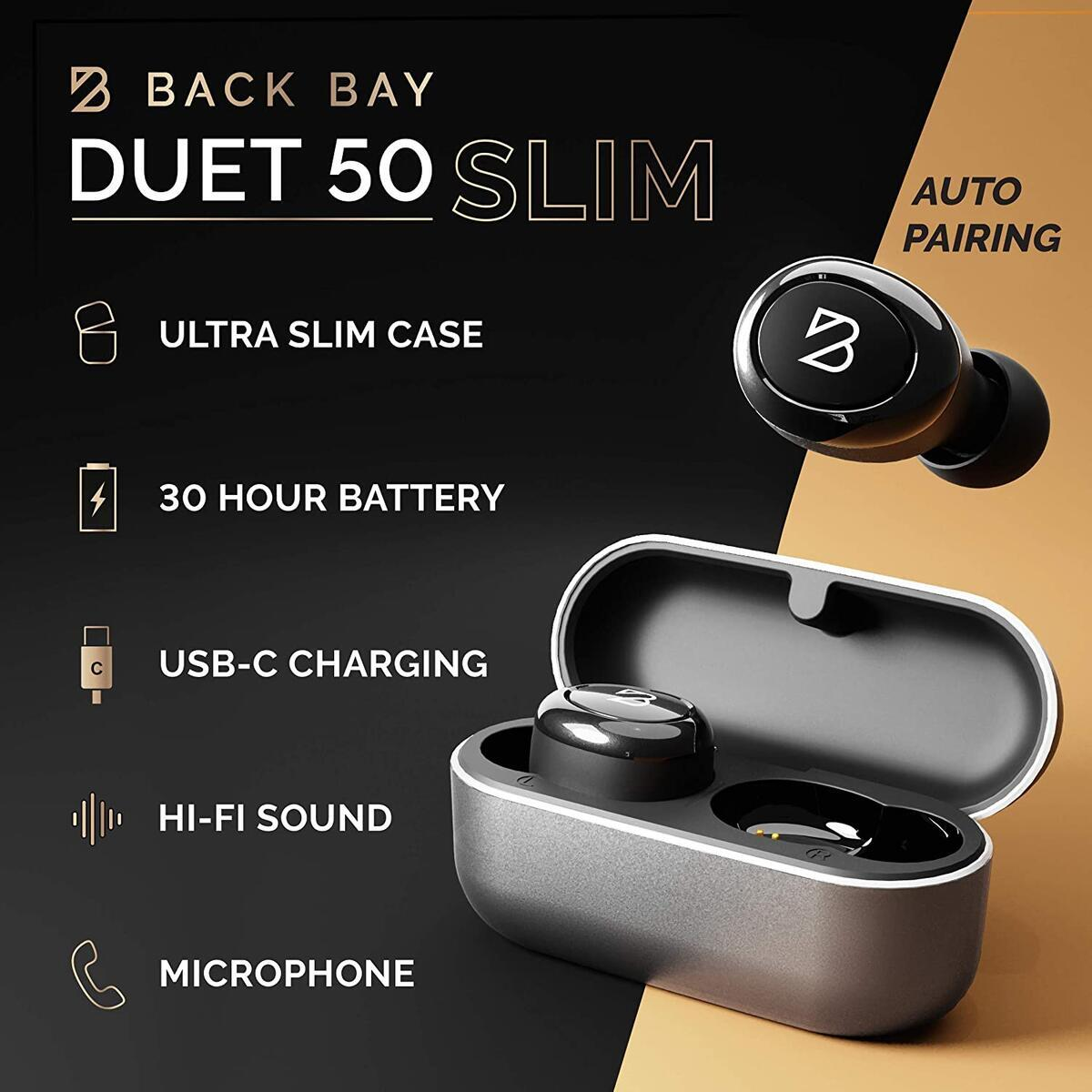 Duet 50 Slim Wireless Earbuds - 30 Hours of Battery Life, Tiny Charging Case, Sweatproof, Truly Wireless