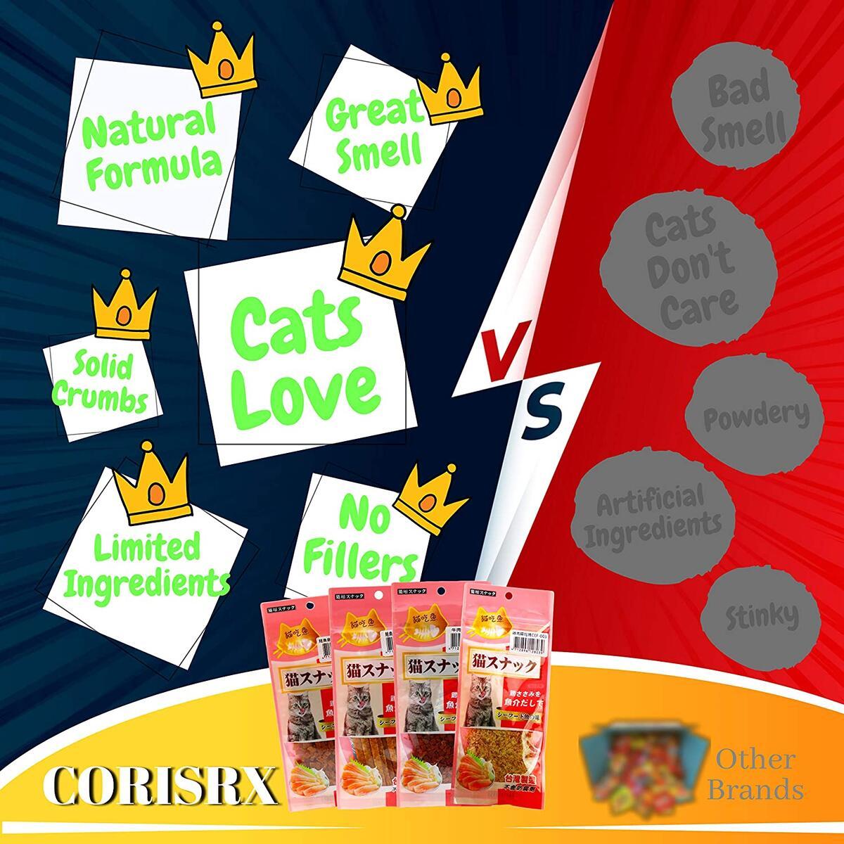 Corisrx Cat Treats Soft Food - Real Meat Grain Free Treats for Cat - Limited Ingredient Cat Snacks - Kitten Training Treats 1.02oz3 (Salmon Chicken Crumbs, Shreds, Lean beef Crumbs)