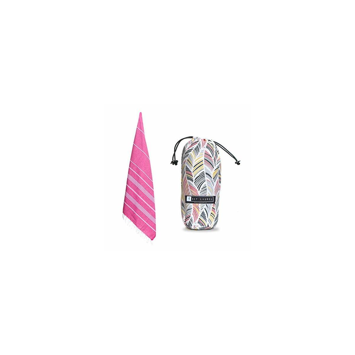 Beach & Bath Towel with Travel Bag / 100% Natural Cotton  / Eco-friendly Towel Manufactured with Hundreds Year Tradition-PINK