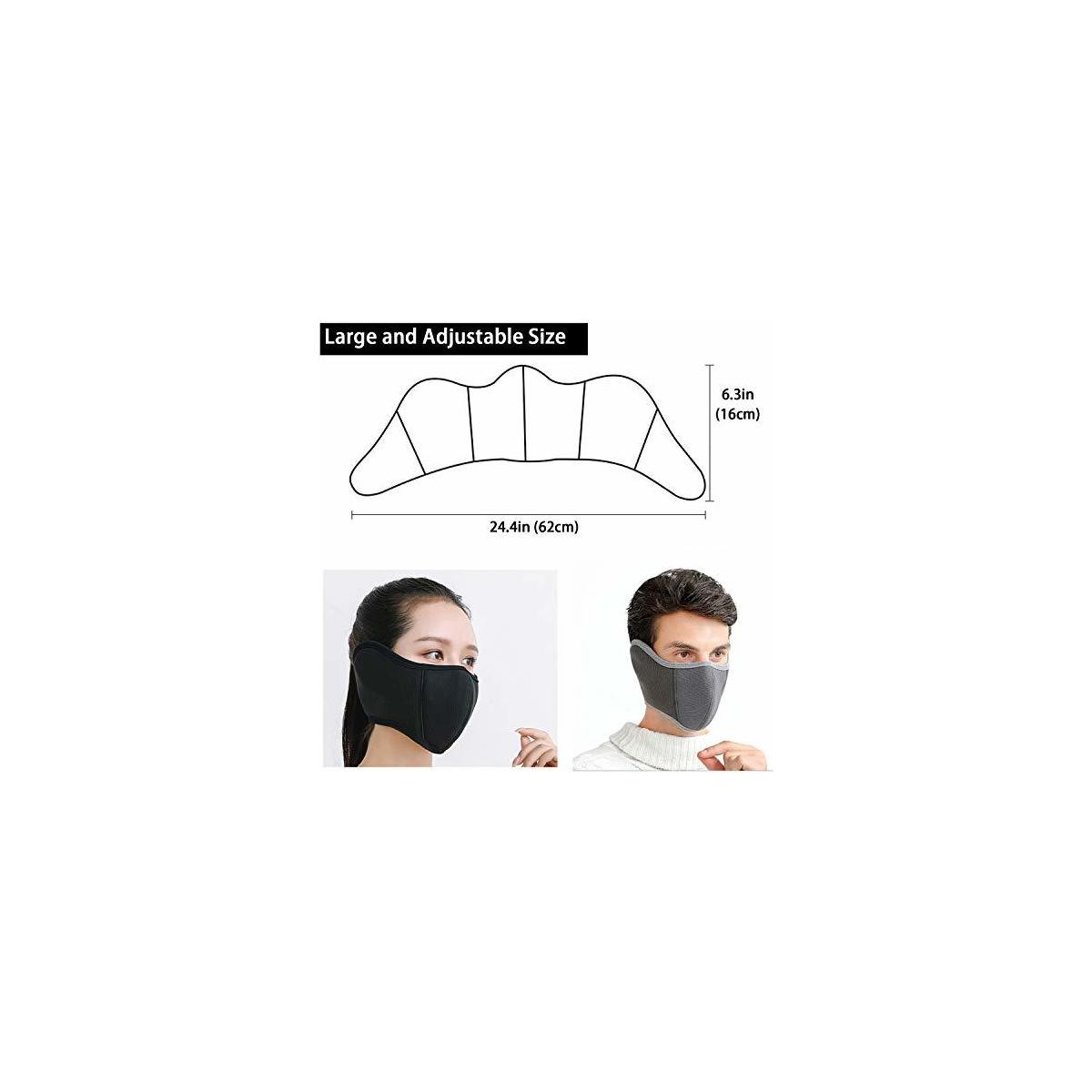 E-jades Winter Face Mask for Men Women Half Face Airsoft Fleece ski Mask Warmer Balaclava Protect Nose, Mouth, Ears Adjustable Earmuffs for Cold Weather,Outdoor Running,Cycling,Skiing,Snowboard-2Pack