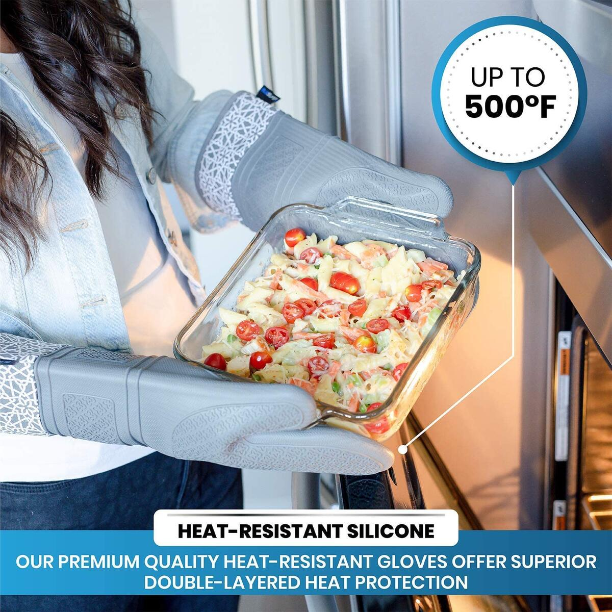 BLUSLVER Premium Extra Long Heat Resistant Silicone Oven Mitts (4 Piece Set) with Pot Holders for Cooking, Oven Baking and BBQ Grilling.…