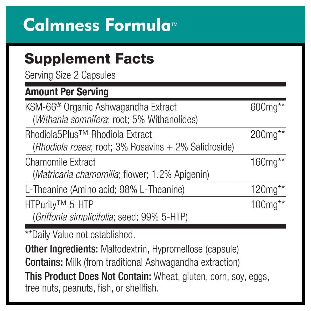 Calmness Formula by DailyNutra - Stress and Anxiety Relief Supplement - Promotes a Natural Calm Mood | Effective & Safe - Featuring Clinically Studied KSM-66 Ashwagandha (90 Capsules)