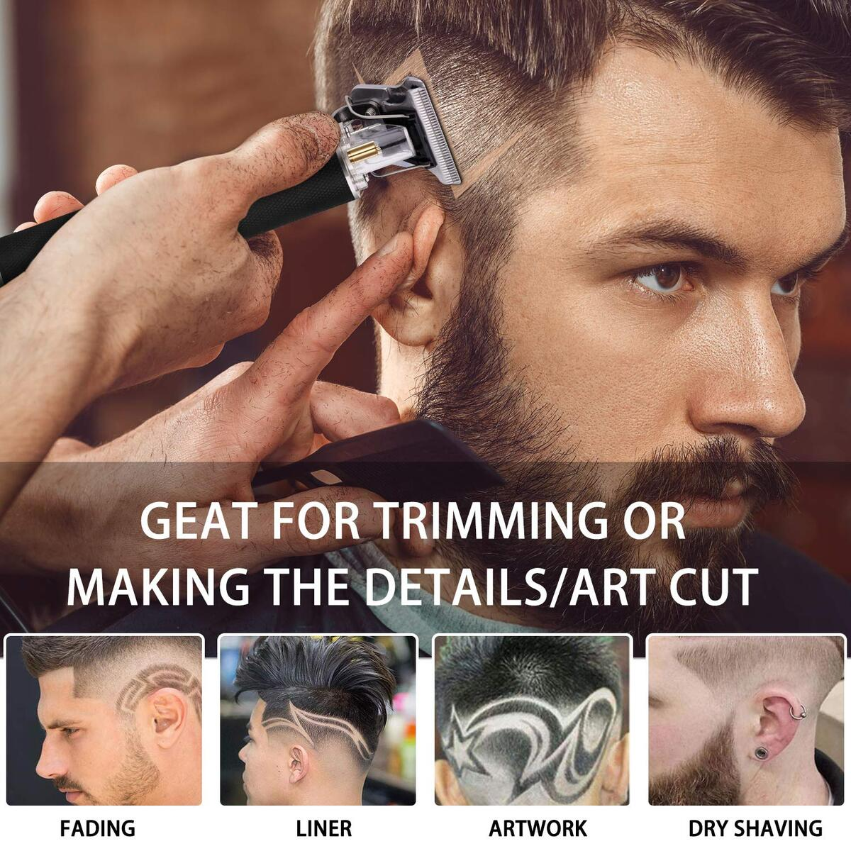 Hair Trimmers for Men - Professional Electric Hair Outliner Clippers Kits Grooming 0 mm Baldheaded Rechargeable Cordless Shavers for Haircut with Guide Combs