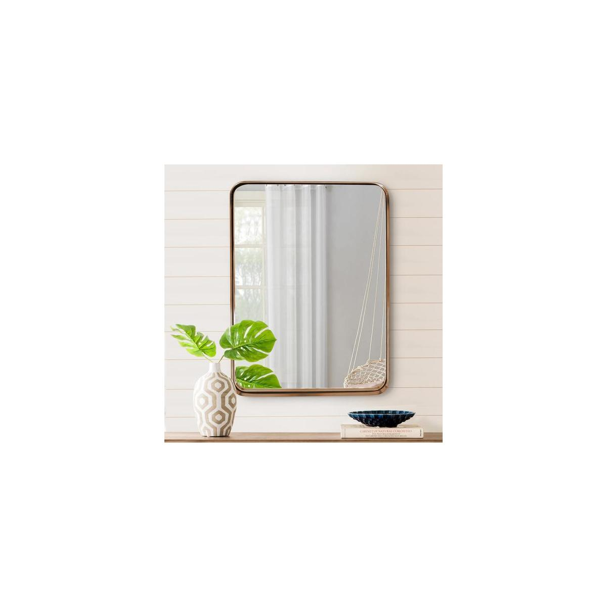 "Wallcharmers Gold Mirror, 22x30"" Brushed Brass Hangs Horizontal or Vertical Bathroom Mirrors for Vanity, Gold Vanity Mirror, Vanity Mirrors for Bathroom, Big Mirrors, Infinity Mirror"