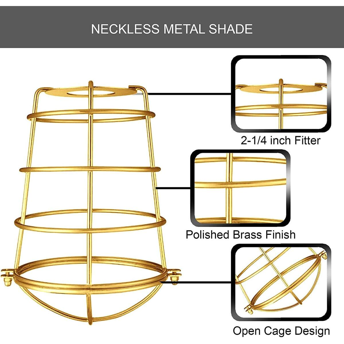 Dysmio Metal Bulb Guard Lamp Cage, Wire lamp Shade, 2-1/4-Inch Fitter Polished Brass Industrial Cage,for Pendant Light, Lamp Holder, Ceiling Fan Light Bulb Covers Vintage Style Industrial Grade