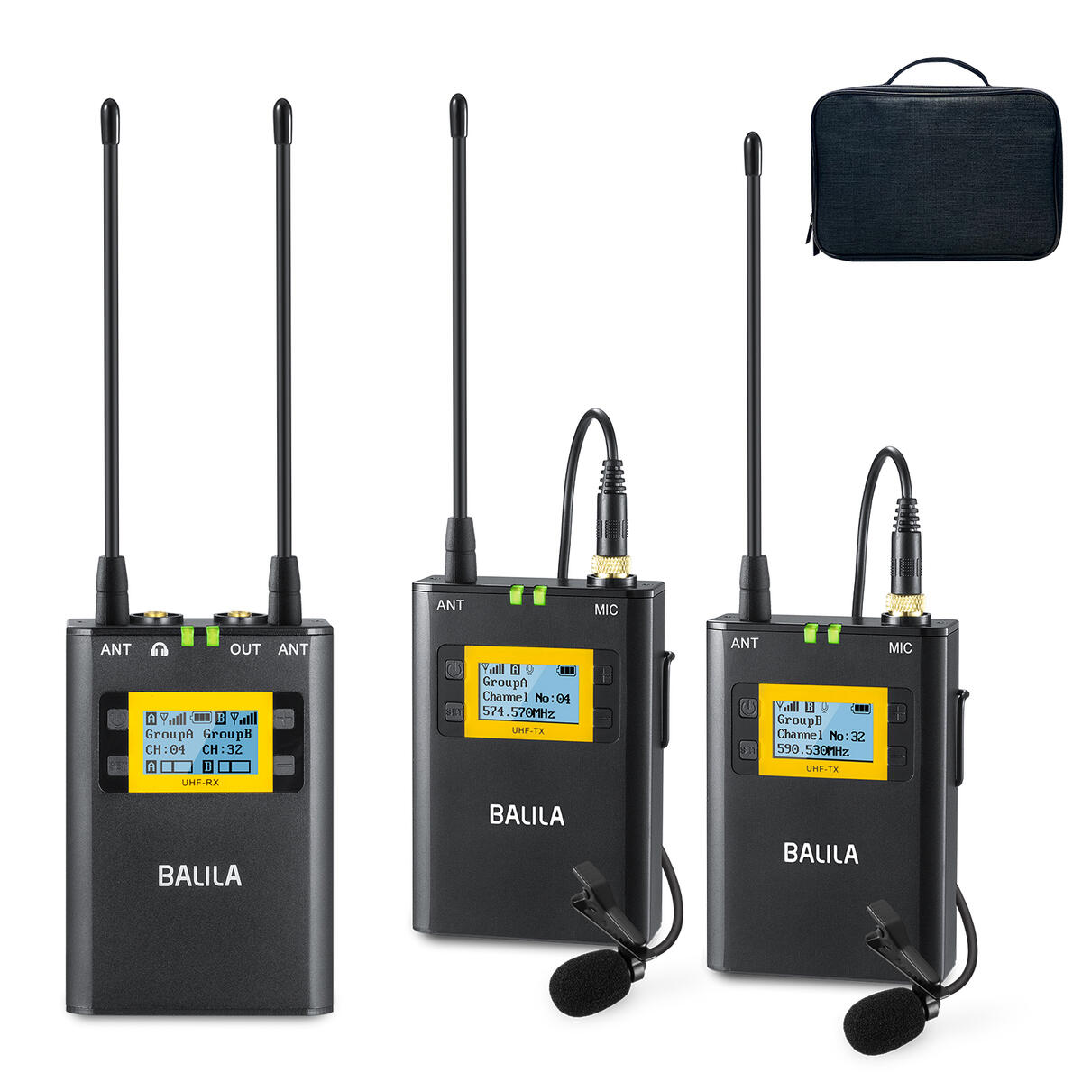 BALILA Wireless Lavalier Microphone System, (2TX+RX) All Metal Ultra High-Frequency UHF 100-Channel Wireless Lavalier Microphone for DSLR Cameras, XLR Camcorder, Smartphone, YouTube Live Recording.