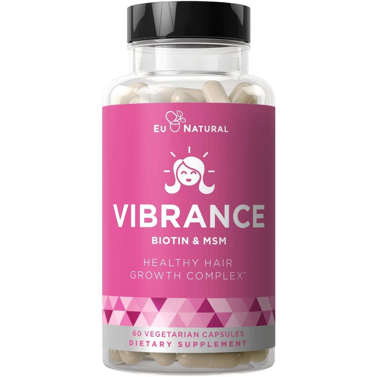 VIBRANCE Hair Growth Vitamins with Biotin – Grow Hair Faster, Healthier & Stronger Length, Beautiful Locks for All Hair Types