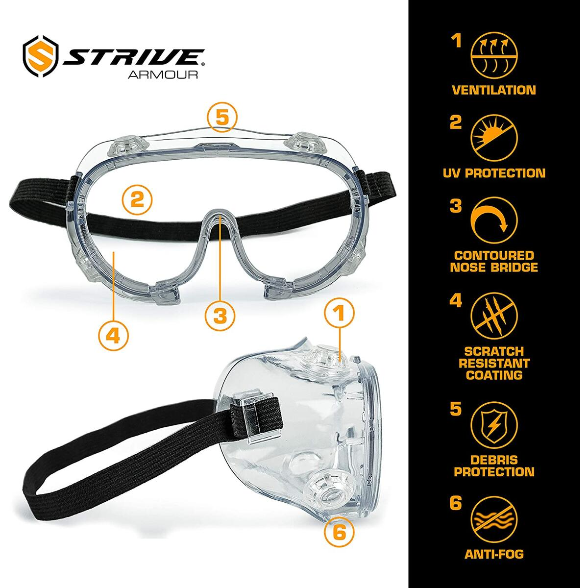 Strive Mongo Anti-Scratch Safety Goggles - Single Pack