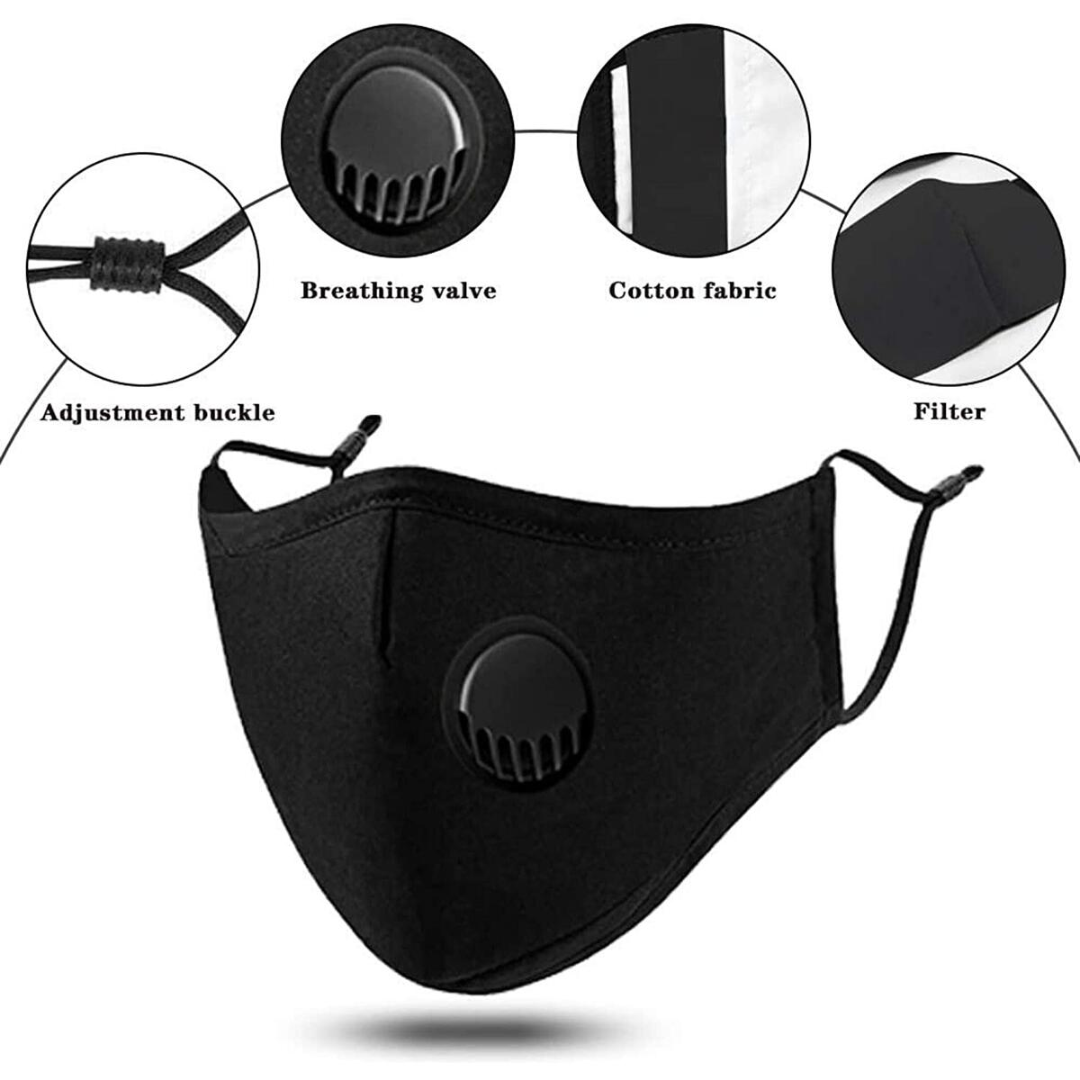 Face Mask With Breathing Valve, Washable Reusable Black Cotton Mouth Cover with PM2.5 Activated Carbon Filter, Unisex Face Masks Protection From Dust, Pollen, Comfortable to Wear