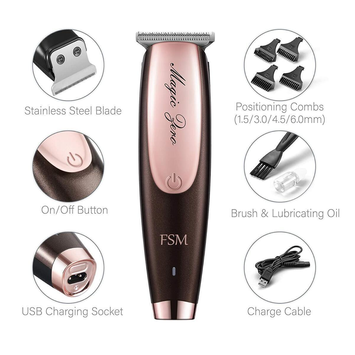 FSM Professional Cordless Hair Clippers for Men, Women and Children – Wireless USB Rechargeable Haircutting Trimmer Beard Grooming Shaver with High-Performance Stainless-Steel Blade and 4 Guides