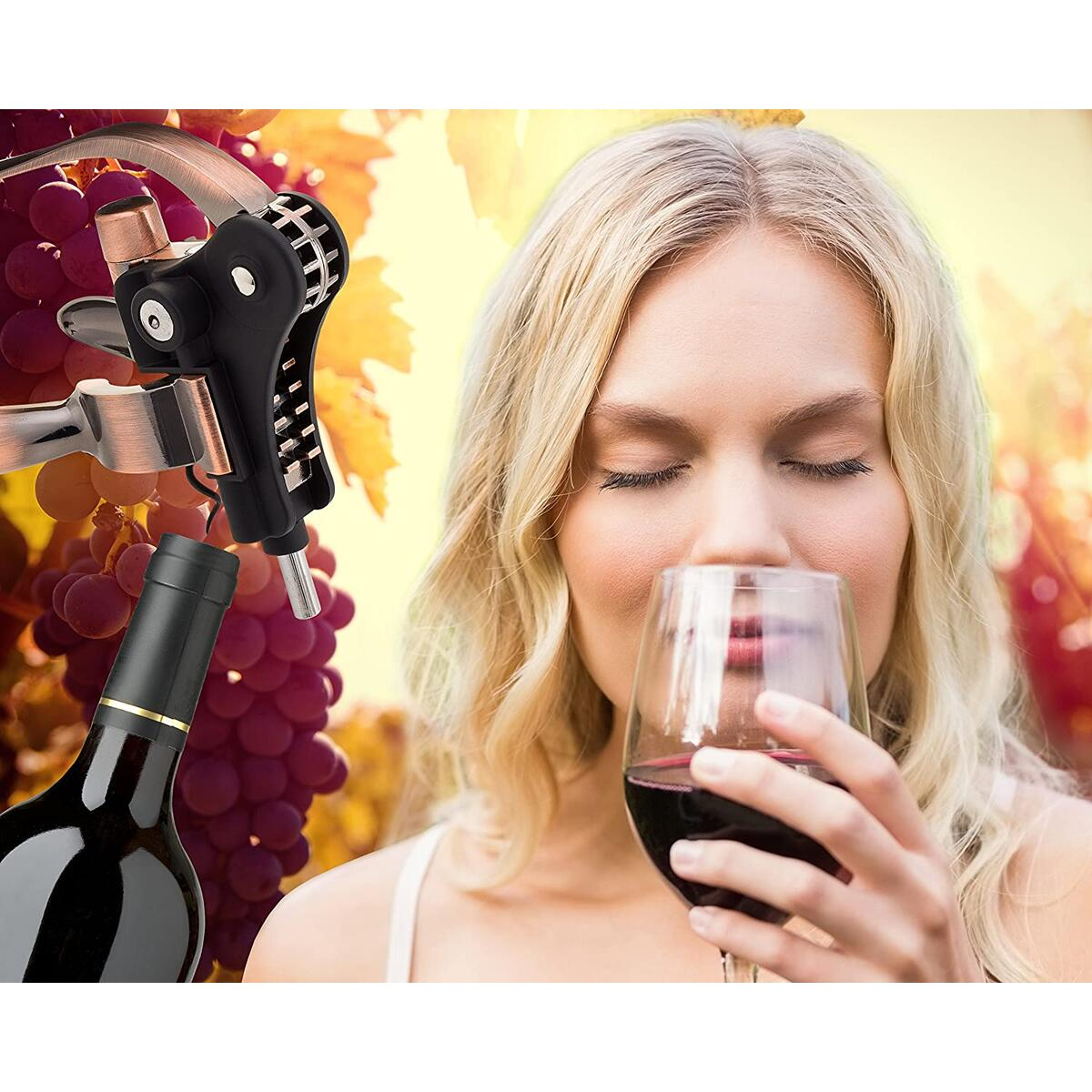 Best Wine Bottle Opener Corkscrew Set With Foil Cutter and Extra Screwpull, Unique Gifts For Mom, Women, Men, Her, Him, Anniversary, Birthday, Christmas, Couples