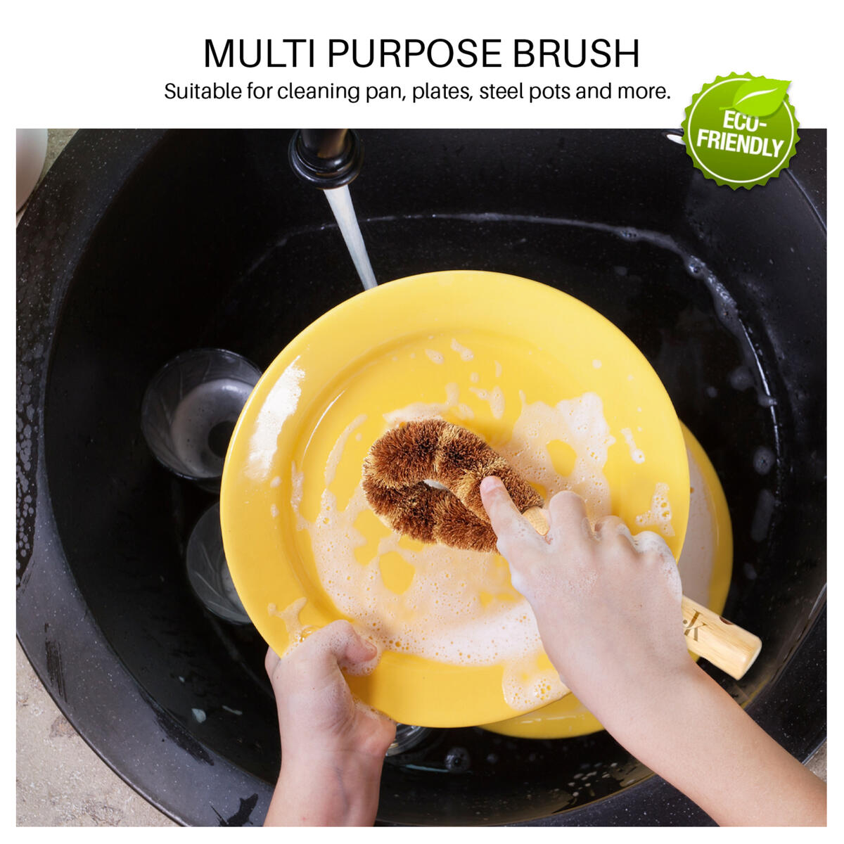 J&K Ink. Natural Dish Scrub Brush Bamboo For Dishes Eco Friendly Scrubber Dish Cleaning Brushes with long Handle For Kitchen Dishes Pan/Pot Bottle Brush Fruit Vegetable Wash Coconut Fibers Bristles