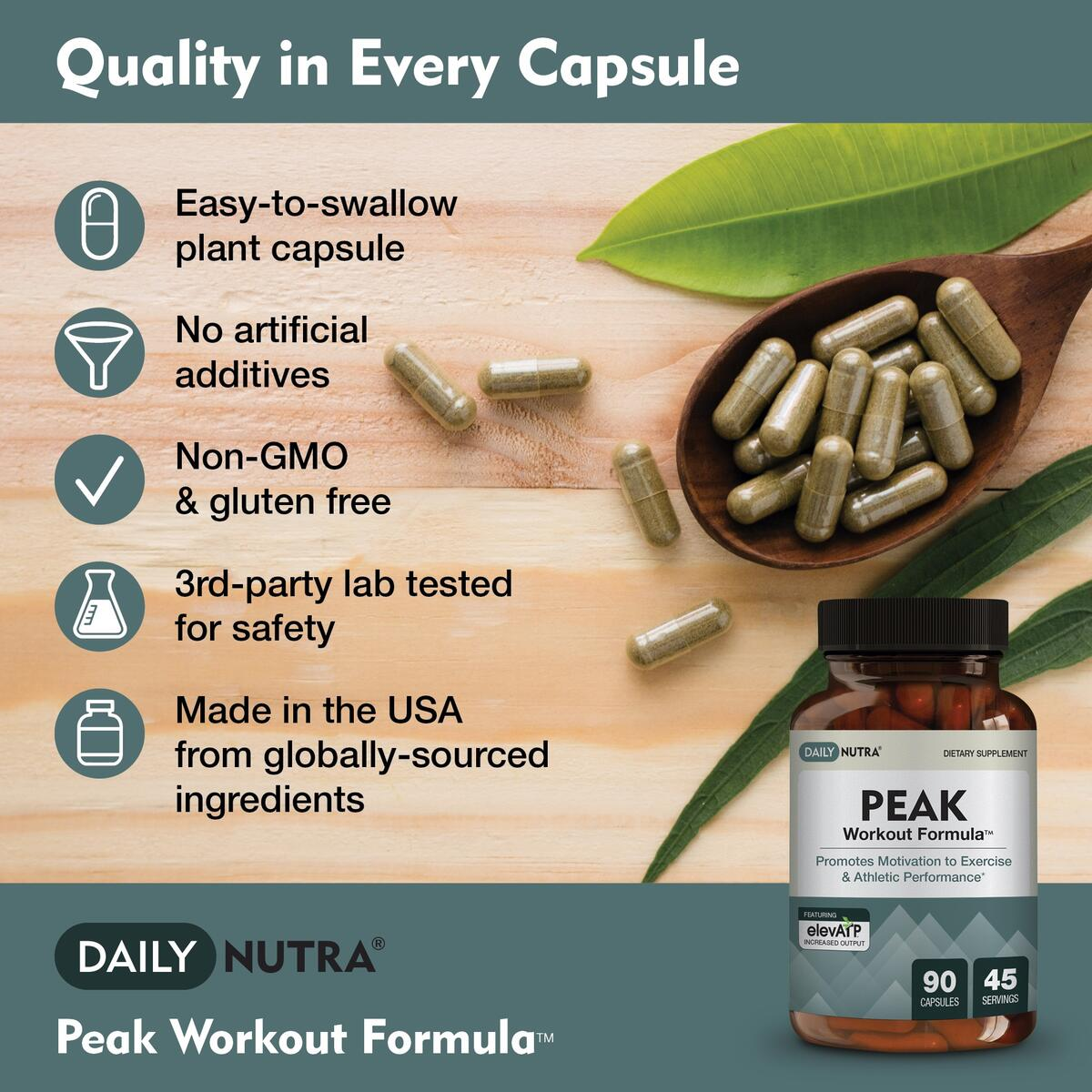 Peak Workout Formula by DailyNutra - Improved Motivation and Exercise Output | Pre-Workout and Recovery Supplement Featuring ActiGin, elevATP, Yerba Mate, Beet Root (90 Capsules)