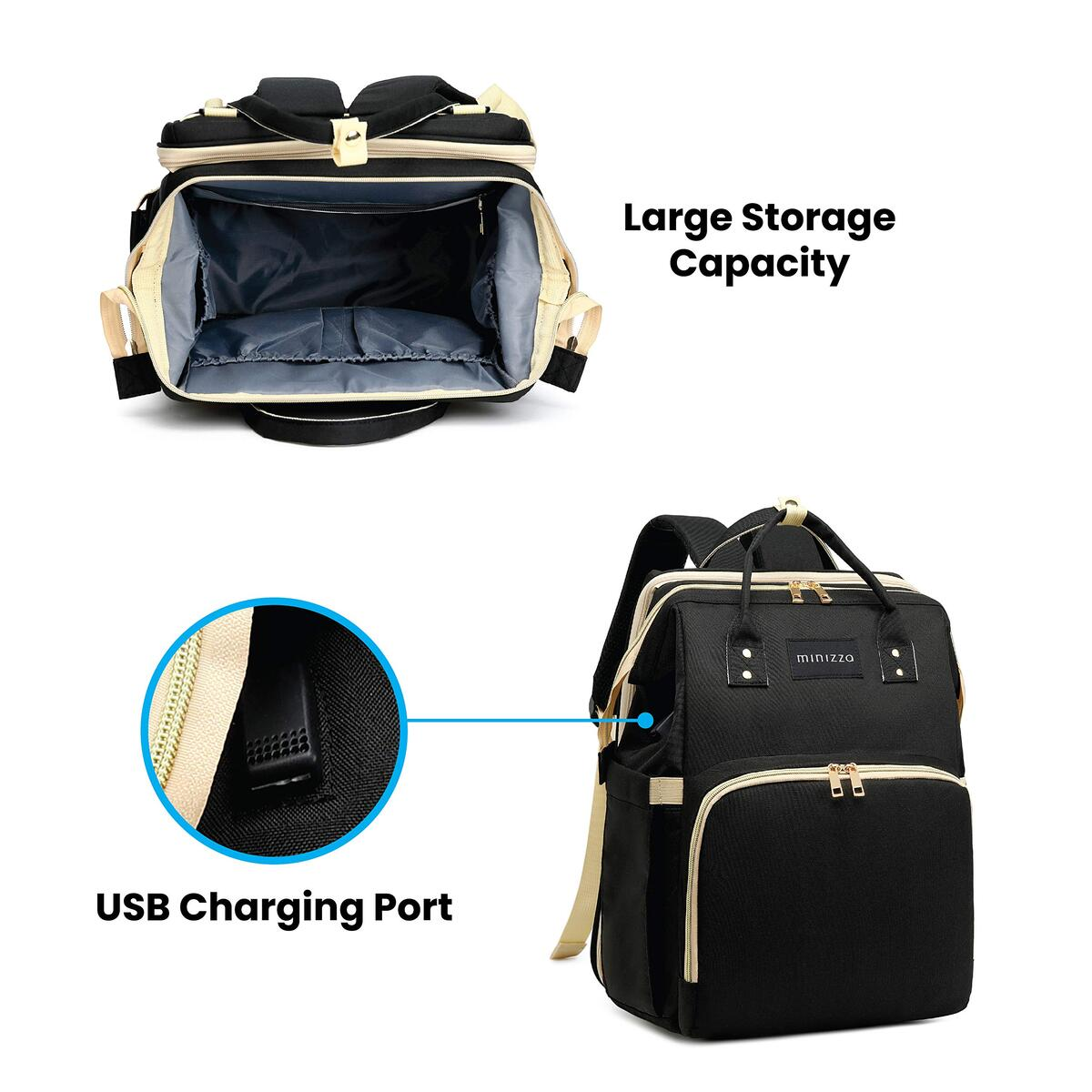 Diaper Bag Backpack with Foldable Changing Station, Travel Baby Bassinet Bed, Portable Crib, Built in USB Charging Port