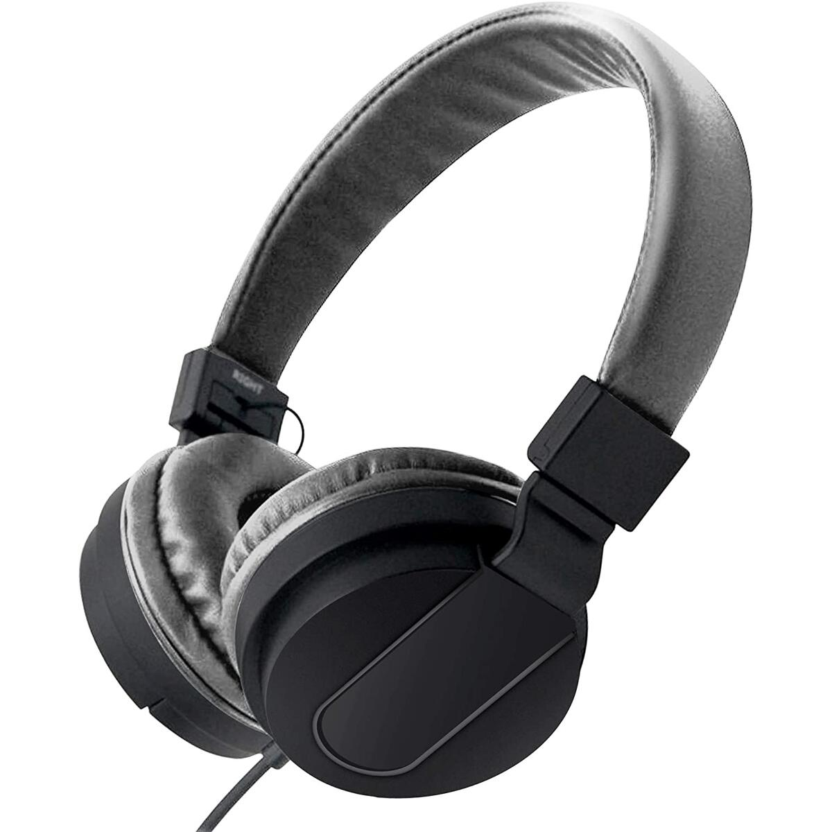 On-Ear Headphones with Built-in Mic, Portable Audio Headset with Adjustable Headband, Soft Ear Cushioned Pads, Foldable Design, for Phone or Computer Use, Hear Calls & Music Clearly - Chroma Black