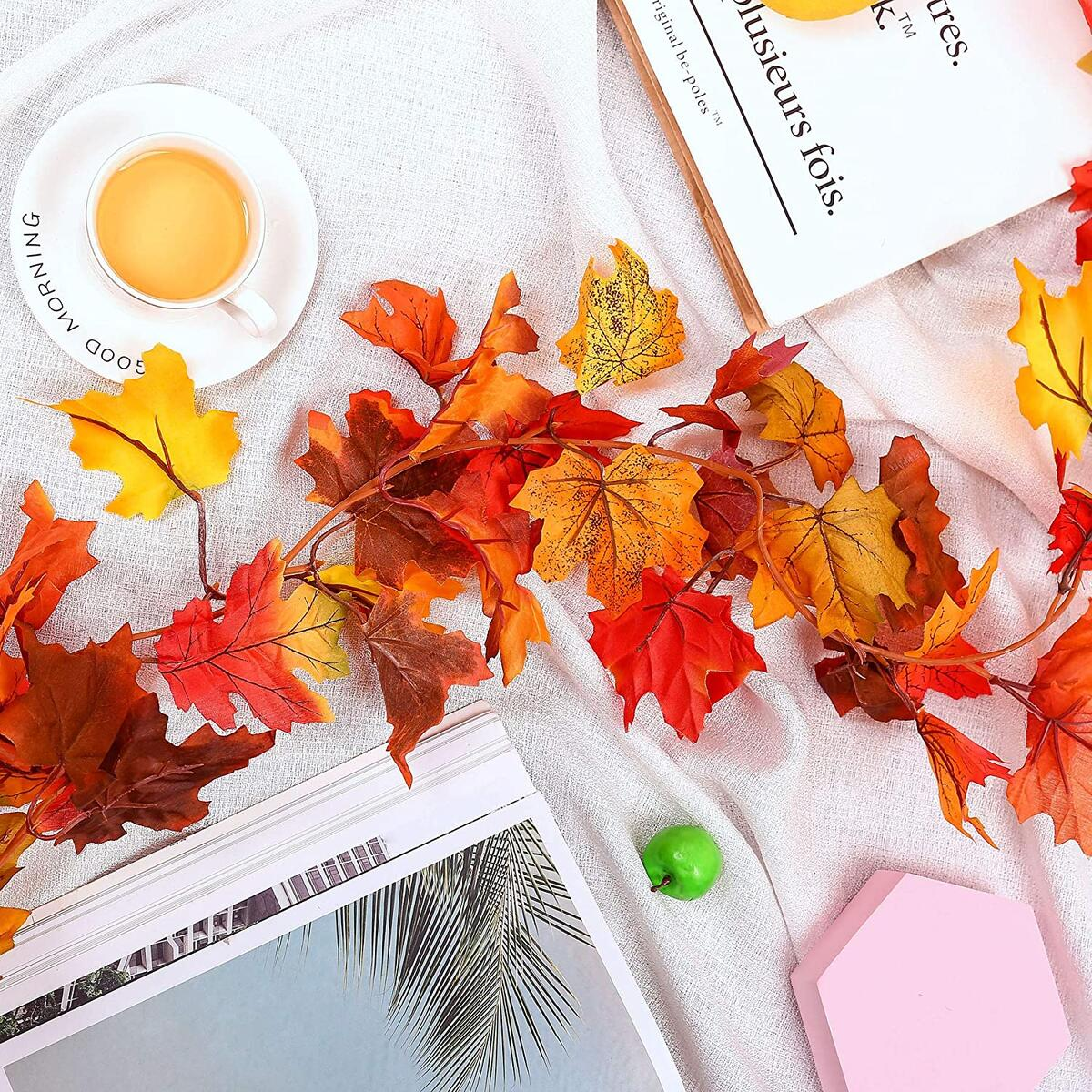 Fall Maple Leaves - 2Pack Sunnysdady 6Ft Artificial Fall Garland