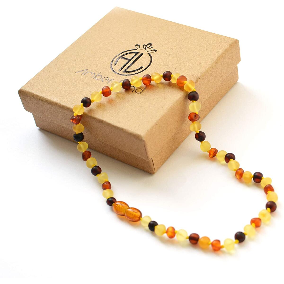 Amber Land Frosted Genuine Baltic Amber Necklace Frosted for Unisex 12.5 inch Certificated Natural Baltic Amber
