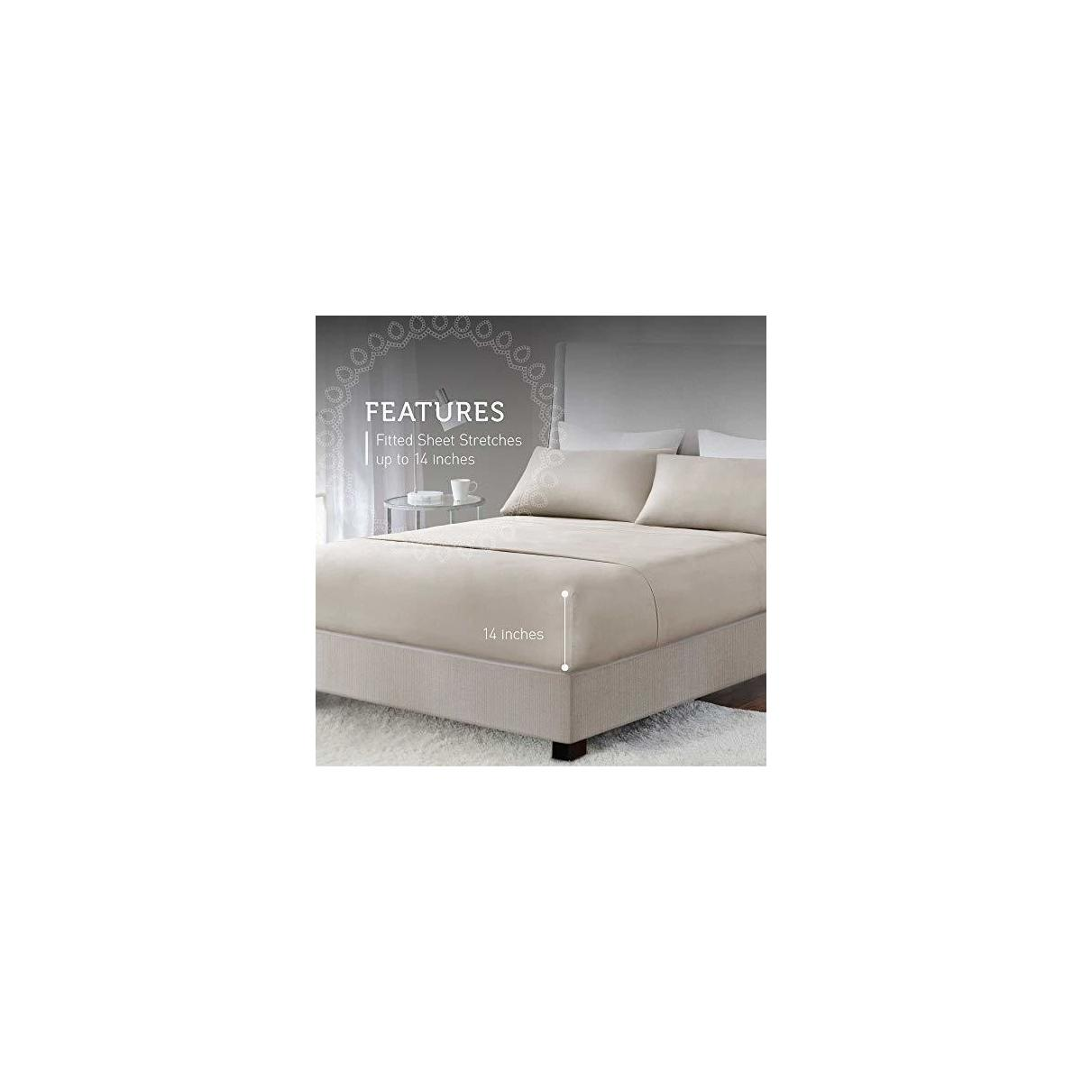 """QUEEN SIZE WHITE/PALOMA COLOR ONLY Hyde Lane 400TC Sateen Cotton Bedding Sets 