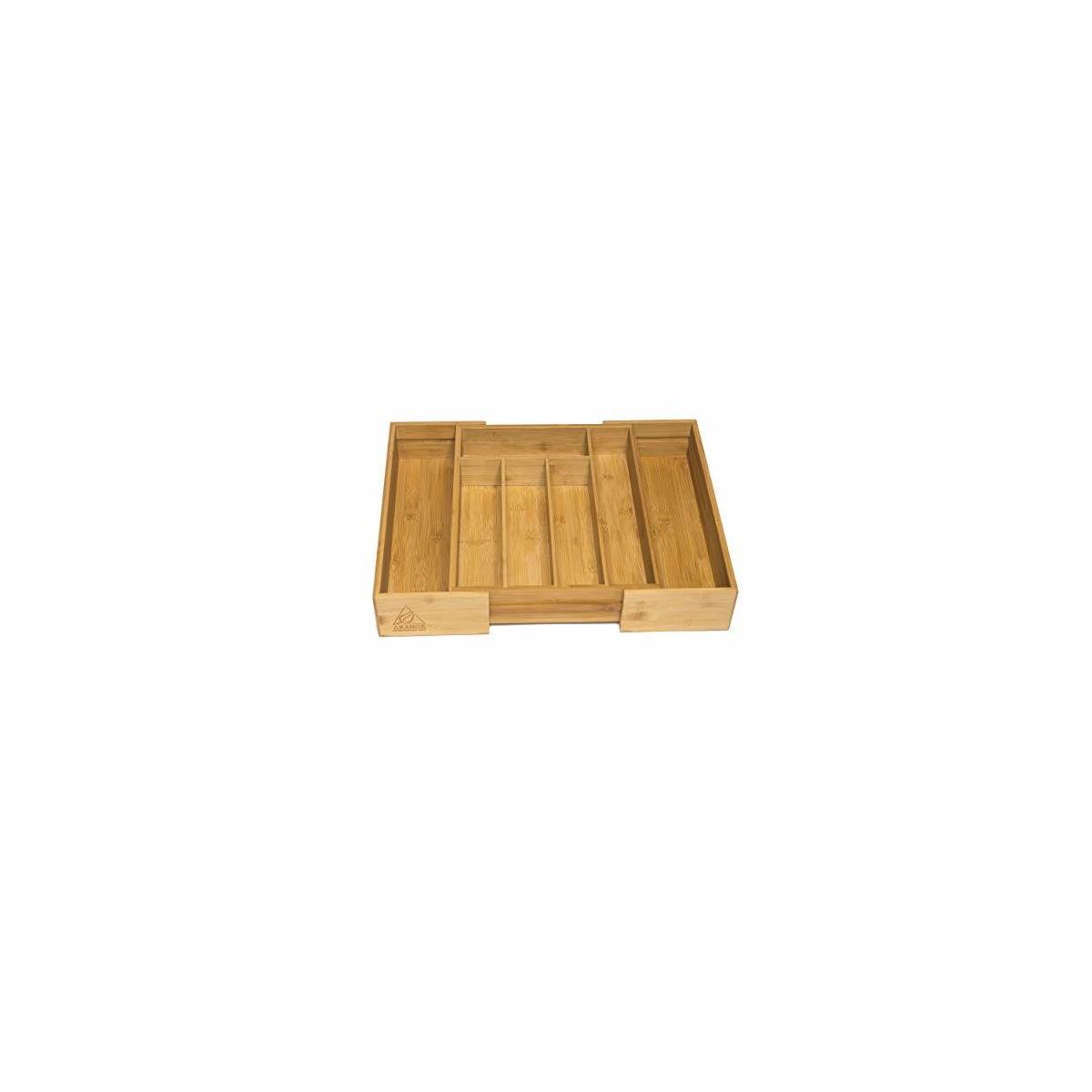 7 slot Adjustable  Bamboo Wood Cutlery Tray Drawer Utensil Organizer for silverware