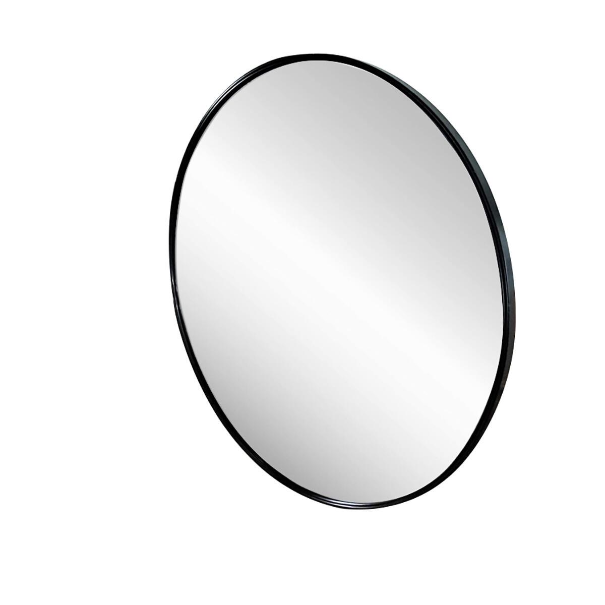 Hendson Black Round Wall Mirror - 27.5 Inch Large Circle Mirror, Circular Mirror for Bathroom, Entry, Dining Room, Living Room - Rustic Farmhouse Decor Metal Vanity Circle Mirror