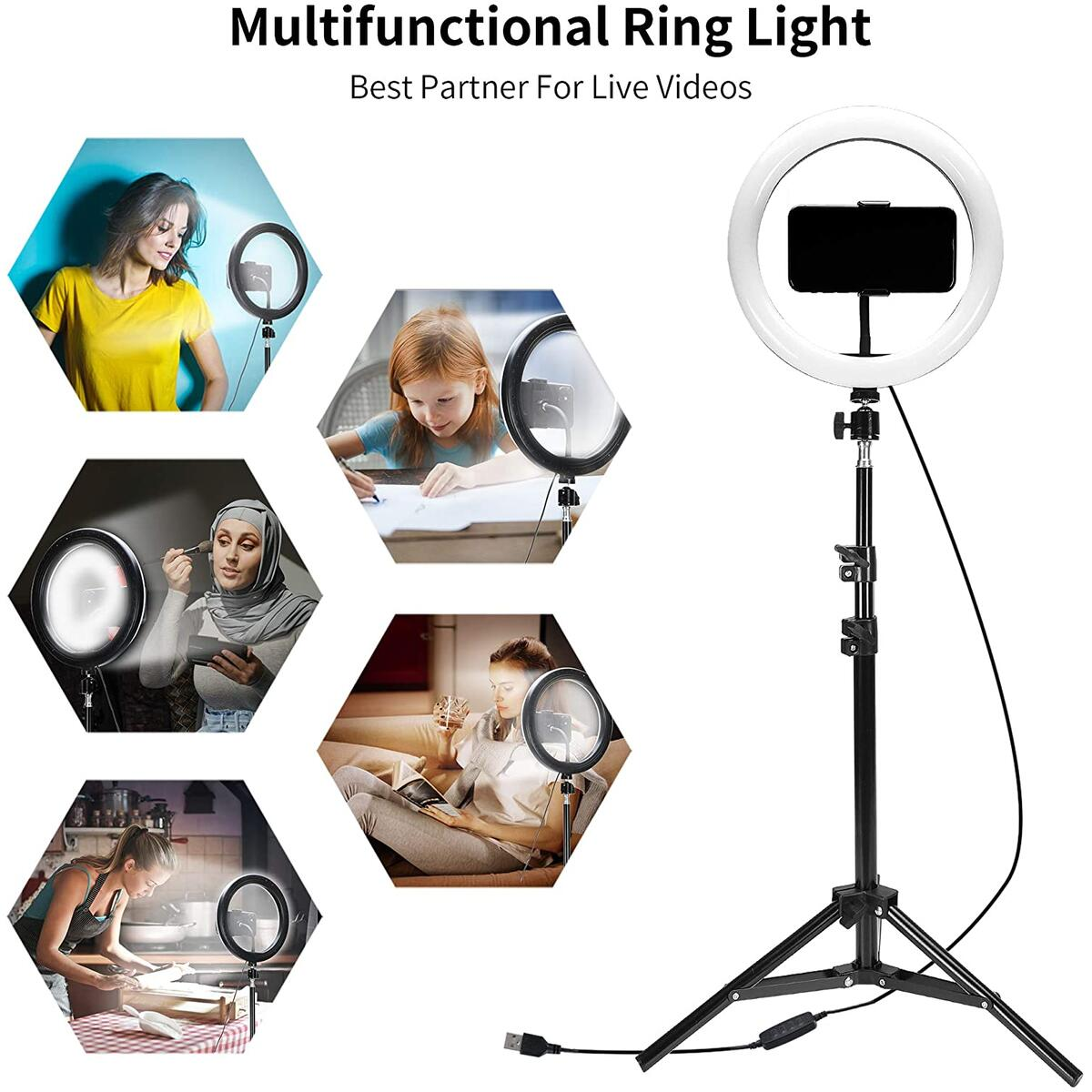 Flying Banana 10 inch Selfie Ring Light With Tripod Stand and Cell Phone Holder & Remote Control 3 Light Modes For YouTube Videos/Makeup Light/Live Streaming/Vlog Compatible For iPhone & Android Phone