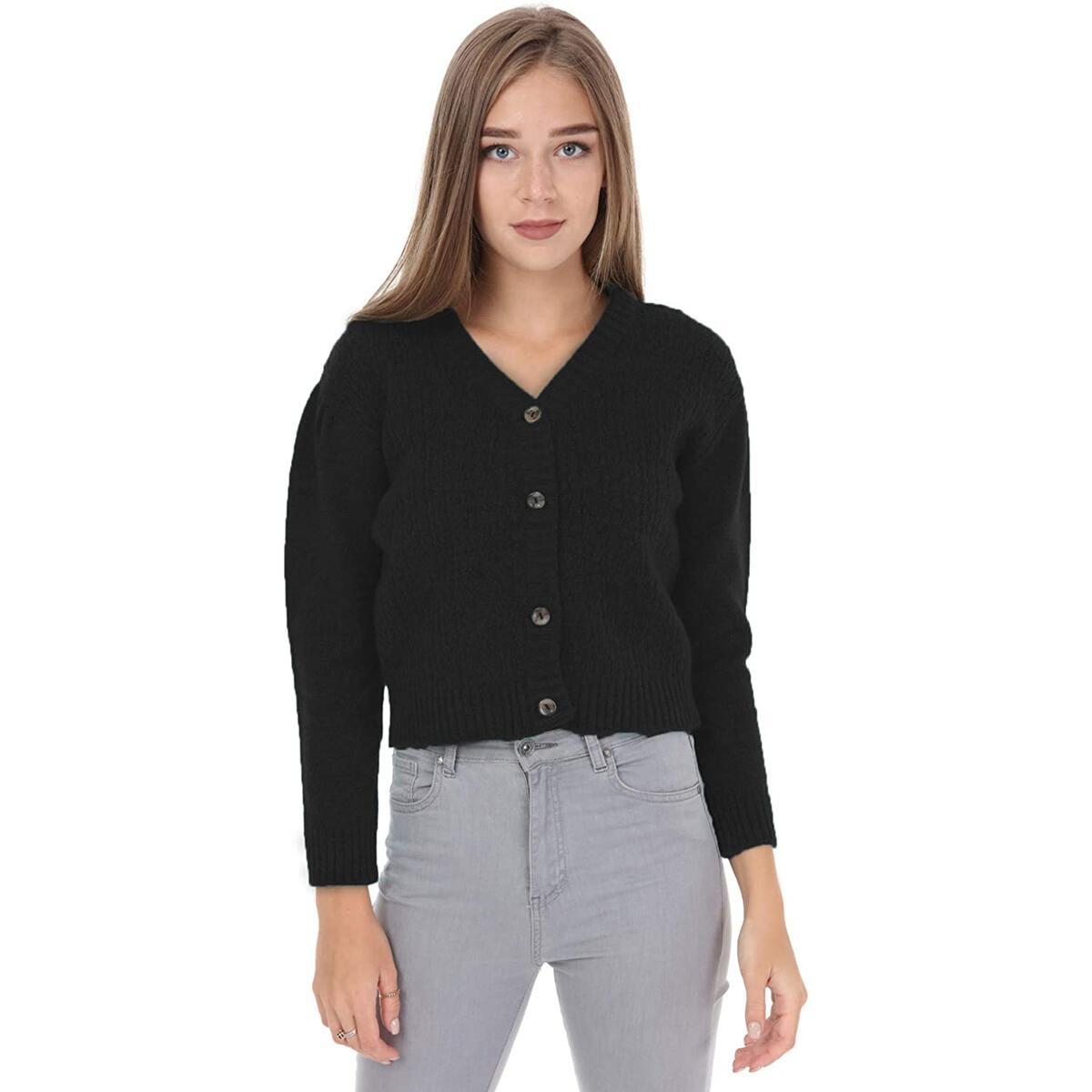 beneliza Womens Cardigans, Cardigan Sweater Crop Top Button Down Two Piece Set