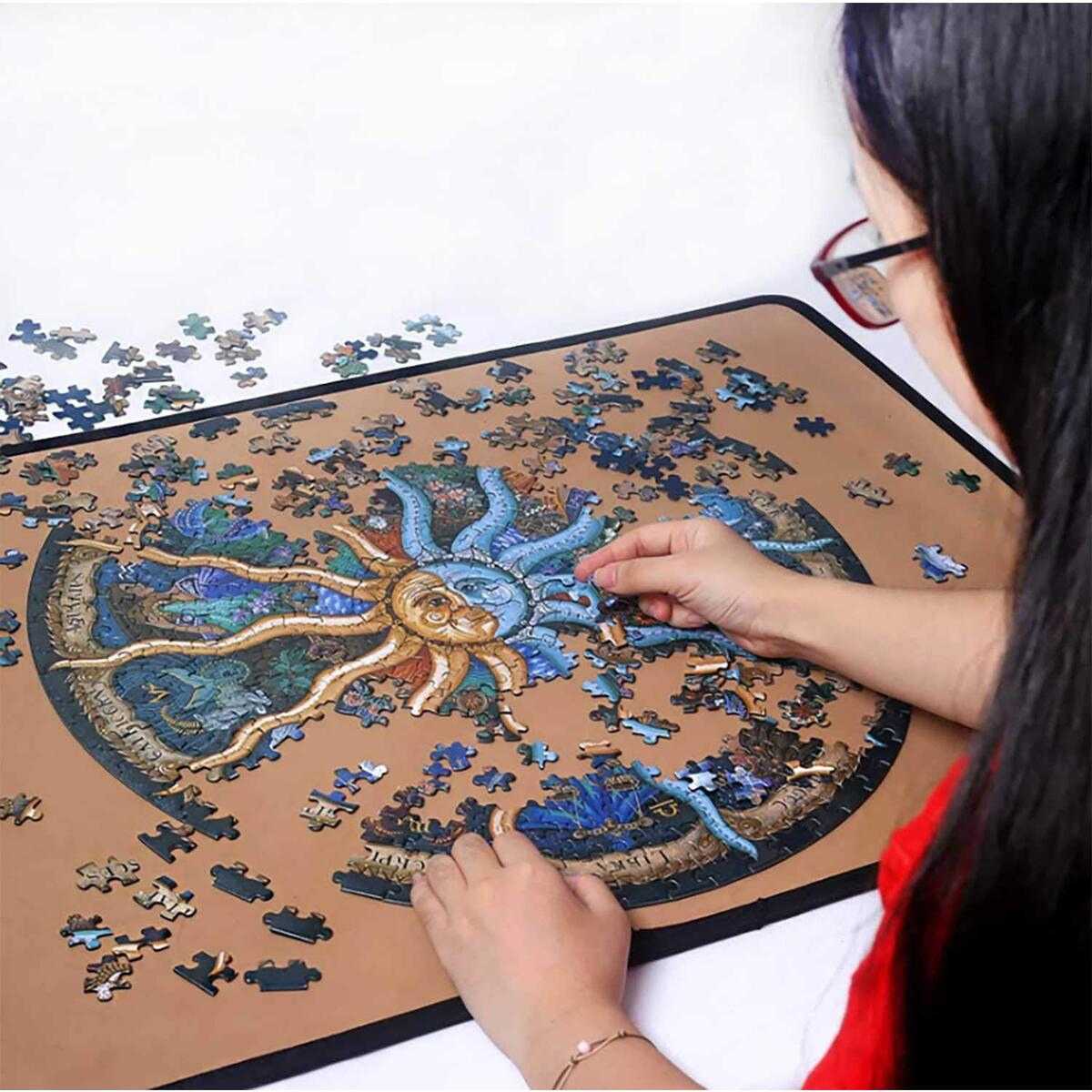 Round Jigsaw Puzzle 500 Piece zodiacal Signs Puzzle Fun Game for Kids Adults Toy