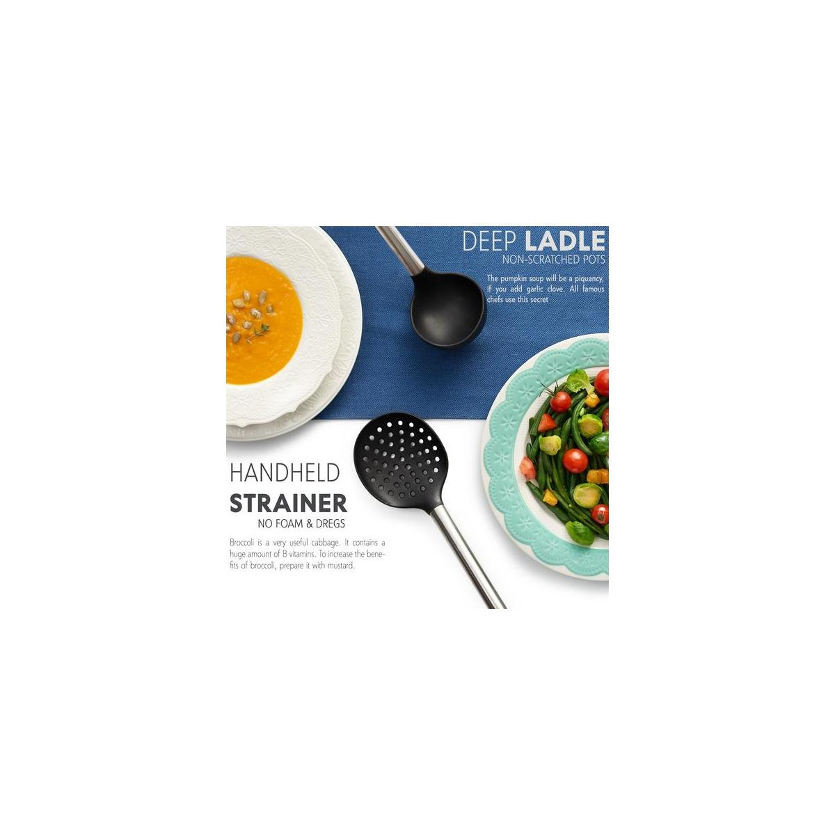 Silicone Cooking Kitchen Utensils - 18-Piece Big Set - Stainless Steel & Silicon Ladle, Spatulas, Spoons, Server, Brush, Measuring Cups, Whisk, Strainer, Tongs - Heat Resistant for Non-Stick Cookware