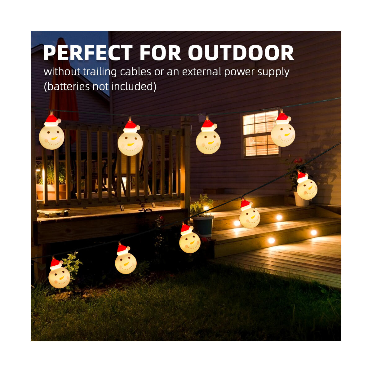 correare Christmas Snowman String Lights, Xmas Lights Waterproof 20 LED 9.84FT USB Powered Cute String Lightsfor Christmas Decoration, Christmas Tree, Home, Garden, Party (Warm White)