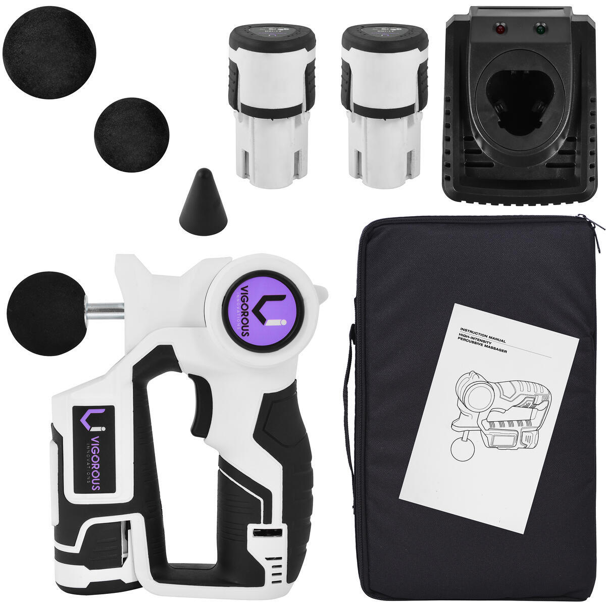 VI Premium Percussion Massager with 2 Batteries, Case, and 3 Heads- Loud but Powerful Cordless Full Body Relief