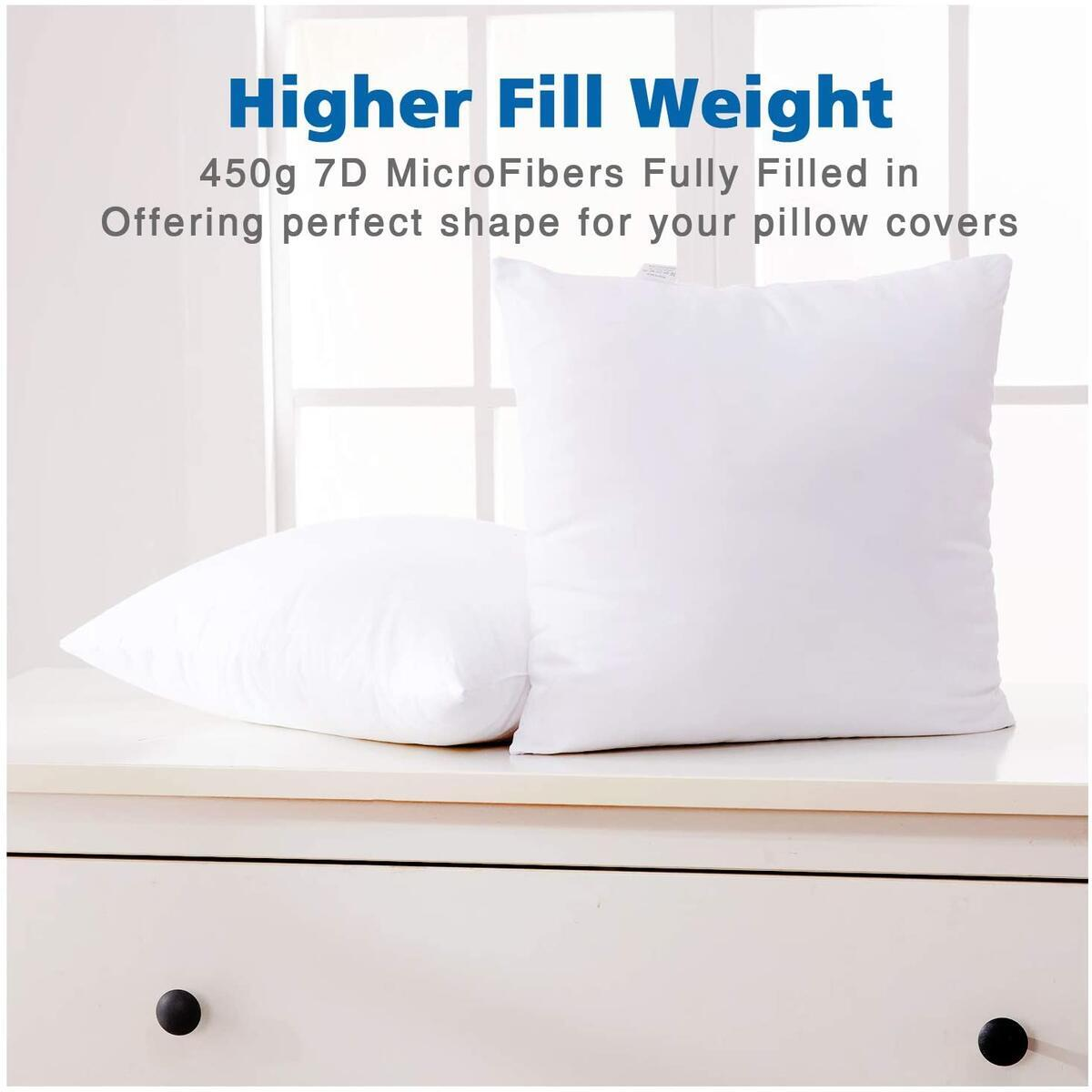 Eggishorn Throw Pillow Inserts (Pack of 2) 16 x 16 inch Filling with 450g Premium Resilient Microfiber Soft Bed and Couch Cushion