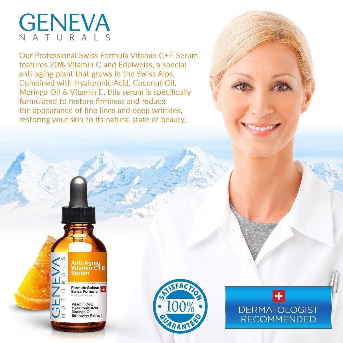 Premium Vitamin C Serum For Face - Anti Aging Hyaluronic Acid Serum with Vitamin A & E - Swiss Skin Care Formula Facial Moisturizer For Women & Men
