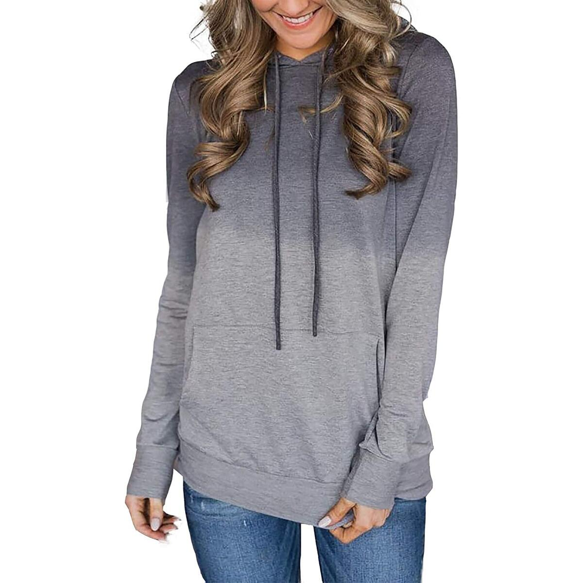 Minipeach Women's Pullover Long Sleeve Hoodies Coat Loose Casual Sweatshirts with Pocket C-ombre Gray