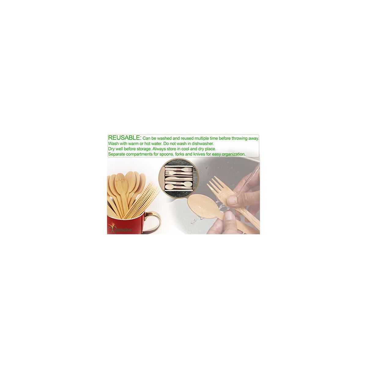 Genuine Bamboo Disposable Cutlery : Heavy Duty Premium Quality & More Sustainable than WOOD & CPLA | Eco Friendly Biodegradable Compostable & Convenient for any Occasion (40 Forks 40 Spoons 20 Knives)