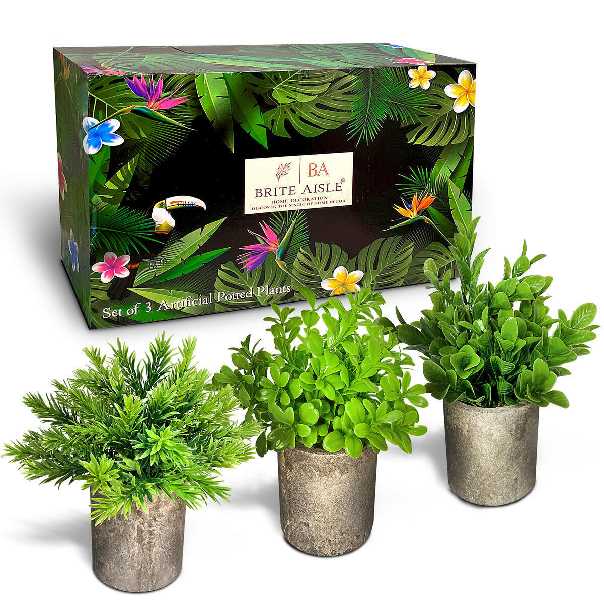 BRITE AISLE Artificial Plants for Home and Office Décor Set of 3 Potted Small Fake Plants of Rosemary, Orange Jasmine and Peanut Leaves