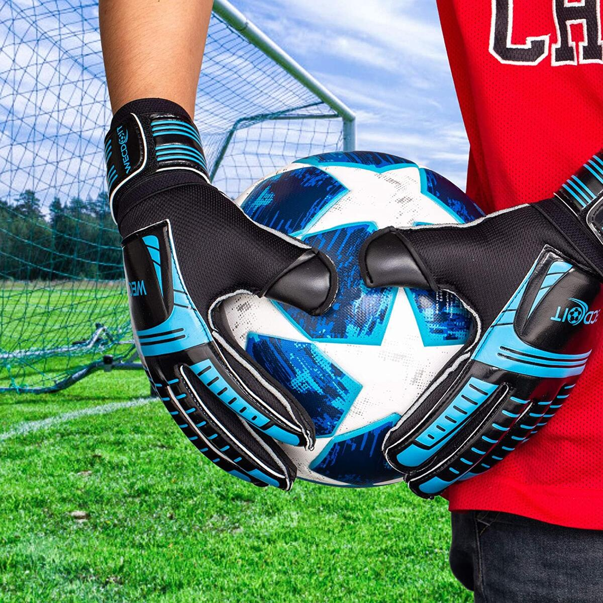 Fingersave Goalkeeper Gloves Size 6-10 - Outdoor Soccer Goalie Gloves - for Youth/Girls/Boys/Child Latex Goalie Gloves Provide Better Protection for Fingers and Wrists