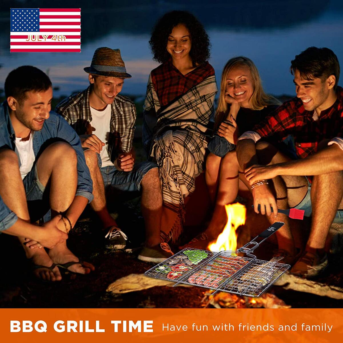 GRILLSOME Grill Basket Stainless Steel with Black Handles, Steak, Shrimp, BBQ, Pork, Vegetables, Comes 2 Grilling Mats and Brush Outdoors Use